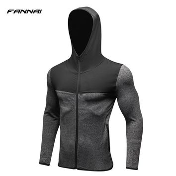 2018 NEW Mens Running Jackets Fitness Sports Coat Soccer outdoor Training Gym corset hooded Thin Quick Dry Reflective zipper