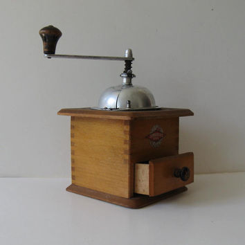 Antique Coffee Grinder, Leinbrock's Ideal , Housewares, Retro Collectible, Wood Box, Dovetail
