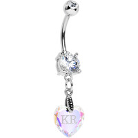 Custom Crystal Aurora Heart Personalized Belly Ring | Body Candy Body Jewelry