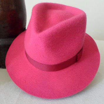 Bright Pink Wool Felt Fedora - Wide Brim Merino Wool Felt Handmade Fedora Hat - Men Women