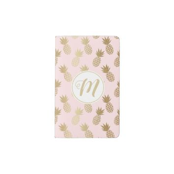Gold Pineapple Pattern & Monogram Pocket Moleskine Notebook