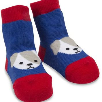 Red and Blue Puppy Baby Socks 0-12 Months