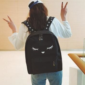 University College Backpack 2017fashion Embroidery Cat Printing  Canvas s For Teenage Girls  Style Casual  Super LOVELYAT_63_4