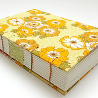 Wedding Guest Book, Retro Fabric Journal, Hand Sewn Notebook, Spring Journal, Yellow Flowers, Keepsake Notebook, OOAK Journal, Sketchbook