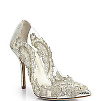 Oscar de la Renta - Alyssa Beaded-Appliqué PVC & Metallic Leather Pumps - Saks Fifth Avenue Mobile