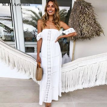 Bohemian chic Hollow out white lace dress women cotton off shoulder Elegant long dress sexy vestidos robe Chic 2018 M.H.Artemis