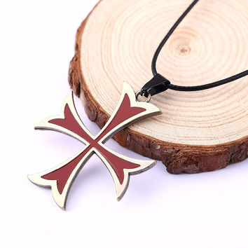 Fashion Assassins Creed 3 Templar Necklace Alloy Shape Pendant Figure Cosplay Jewelry for Women Men HC11323