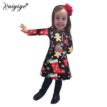 7372accb2f963 Ruiyige 2019 Autumn 3-8Y Children Girls Christmas Dress Kids Cot