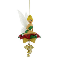 disney parks christmas tinker bell with poinsietta ornament new with tag