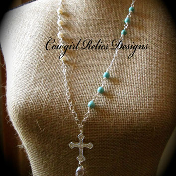 Extra Long Silver Rhinestone Cross, Pearl, Turquoise, and Vintage Crystal Necklace-Western Fashion, Vintage Inspired
