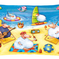 Party Pigs on the Beach Fabric Decorative Pillow APH0081PW1216