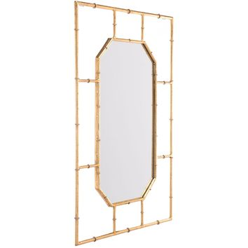 Gold Bamboo Rectangular Wall Mirror