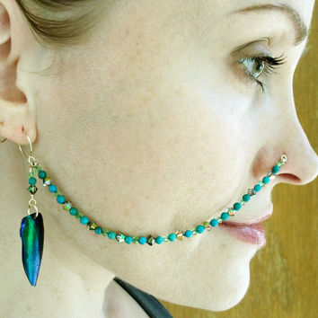 Turquoise Nose Chain, Beetle Wing Nose Chain, Crystal Nose Chain, Custom Nose Chain, Mermaid Nose Chain, Free US Shipping