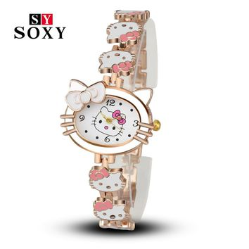 Women Child Cartoon Bracelet Watch Hello Kitty Fashion Casual Dress Quartz Wristwatch