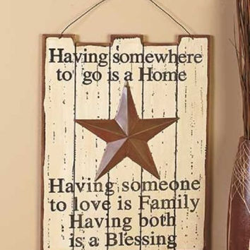 Rustic Country Wood Panels Wall Hanging Art Barn Star Cabin Lodge Primitive NEW
