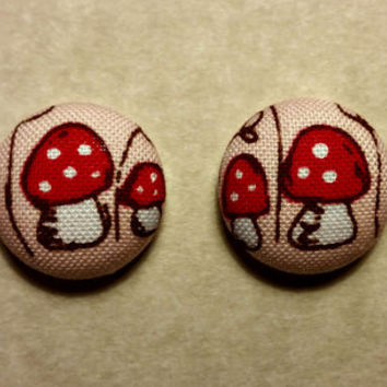 Red and White Mushroom fabric covered button earrings- Mushroom Kingdom