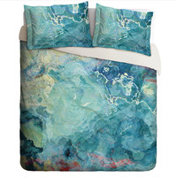 Duvet Cover with abstract art, king or queen in blue green, aqua and cream, Cool Cucumber