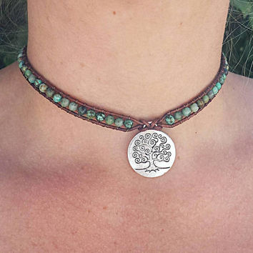 African turquoise choker necklace, leather choker, boho choker, turquoise jewelry, Boho jewelry, beaded choker, gemstone jewelry, hippie