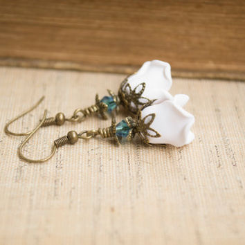 Vintage Inspired Polymer Clay White Rose Earrings. White Flower Earrings. Blue Swarovski Crystal. White Jewelry. Flower Jewelry