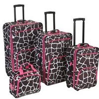 Pink Giraffe 4 Piece Luggage Set