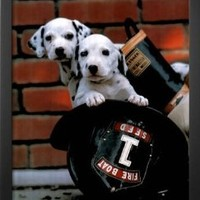 Professionally Framed Ron Kimball Firefighting Pups Art Print Poster - 16x20 with Solid Black Wood Frame