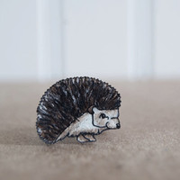 Hedgehog Ring, Shrink Plastic Ring, Woodland Charm, Animal, Beast, Lightweight Brass Ring