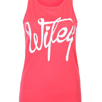 "Watermelon Red ""Wifey"" Letter Print Racer Back Vest"