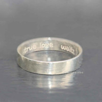 True love waits ring.The purified heart' s ring / Purity ring / 925 Sterling Silver band ring