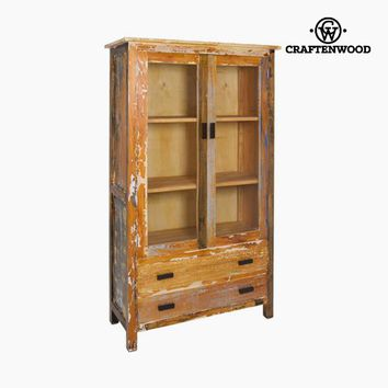 Display Cabinet With Double Glass Doors Wood (105 x 45 x 180 cm) - Vintage Collection by Craftenwood