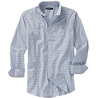 Cremieux Long-Sleeve Check Poplin Woven Shirt - White/Navy