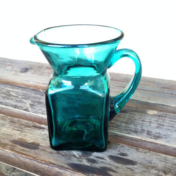Green~Teal Blue Glass Square Pitcher / Creamer  - Small Green Pitcher - Mid-Century Kitchen Decor