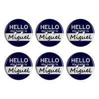 Miguel Hello My Name Is Plastic Resin Button Set of 6