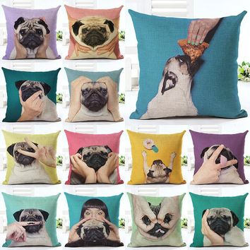 Lovely Silent Pug Dog Pillow Cover