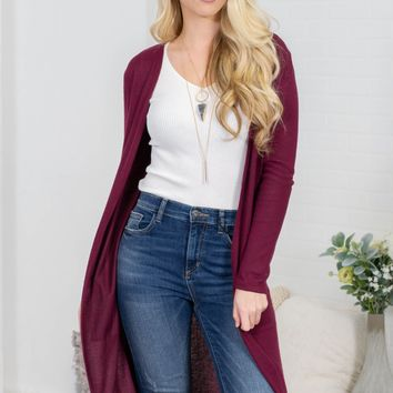 Rich Burgundy Pocket Cardigan