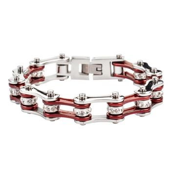 Burgundy and Silver Stainless Steel Chain Bracelet with Rolling Crystals