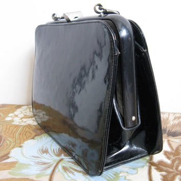 Vintage 1950s Kelly Style Handbag Black Patent Leather Bernard Original Purse