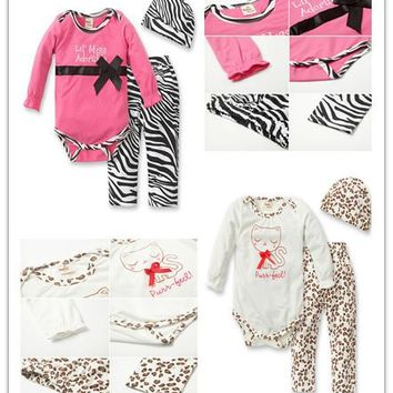 2017 Autumn baby clothing newborn baby girl clothes baby romper+leopard pants+hat 3 pcs baby suit Infant clothing set