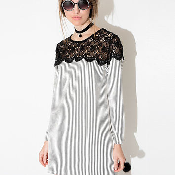 Striped Lace Accent Long Sleeve Mini Dress