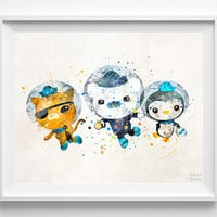 Octonauts Print, Watercolor, Poster, Office Wall Art, Dorm Decorations, Bathroom Wall Art, Home Goods, Back To School