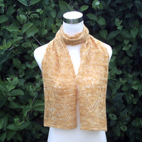 Women's hand knitted luxury hand dyed merino and angora lacy scarf. OOAK. Gold .