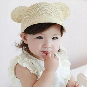 QIYIF Casual baby summer hat straw kid girls cap with ear solid color sun hat for girls