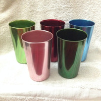 Set of 5 - Vintage Bascal Anodized 12 Ounce Cups - Rainbow Colors