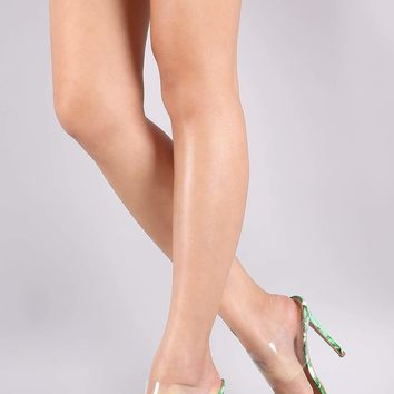 Banana Leaf Print Transparent Band Pointed Open Toe Stiletto Mule Heel