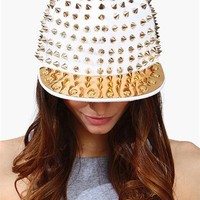 Spike It Snap Back Hat - White