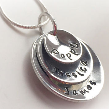 Hand stamped stacked mothers necklace