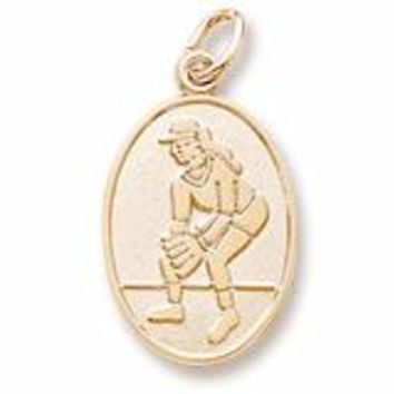 Female Softball Charm In Yellow Gold