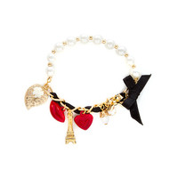 My Heart Belongs to Paris Charms Pearl and Chain Link Stretch Bracelet