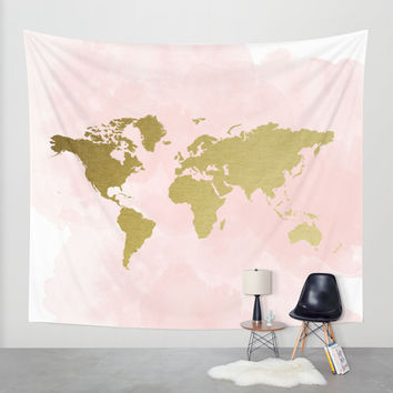 Gold World Map Poster Wall Tapestry by PeachAndGold