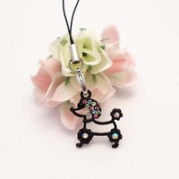 Black Poodle Figure Cell Phone Charm Strap Rhine Stone