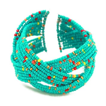 Marysol Twisted Seed Bead Julia Cuff Bangle